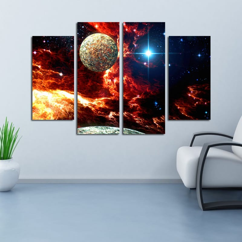 Miico Hand Painted Four Combination Cosmic Starry Sky Wall