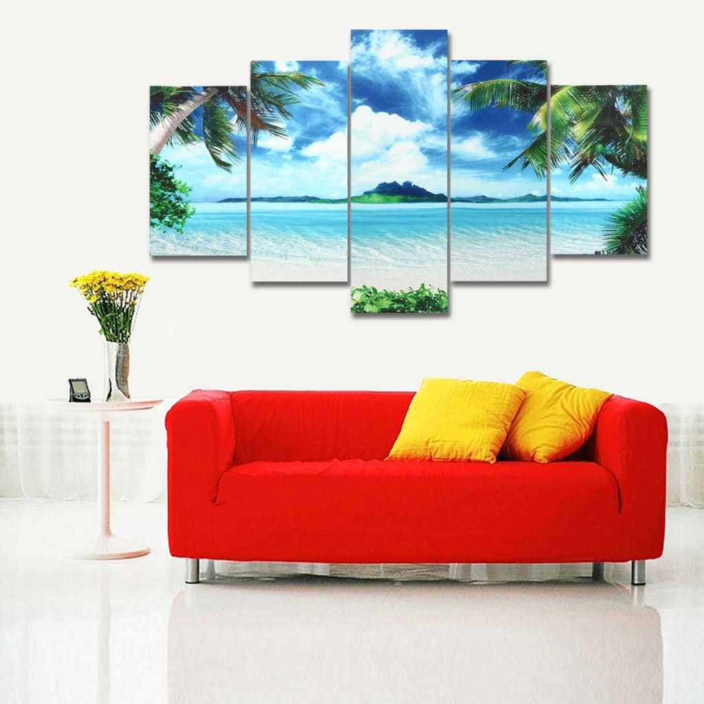 5pcs Canvas Paintings Seascape Beach Printing Unframed