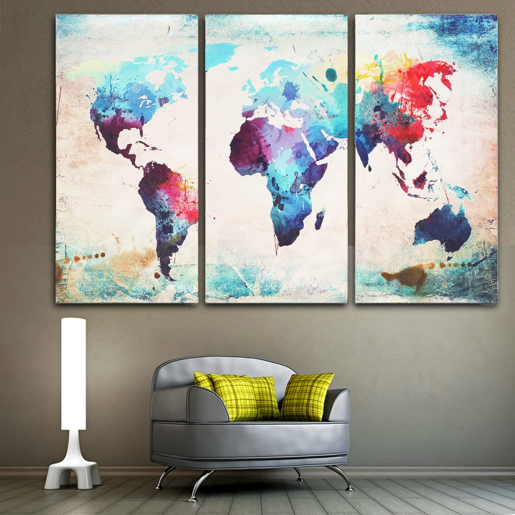 Colored World Map Abstract Wall Art Canvas Paintings