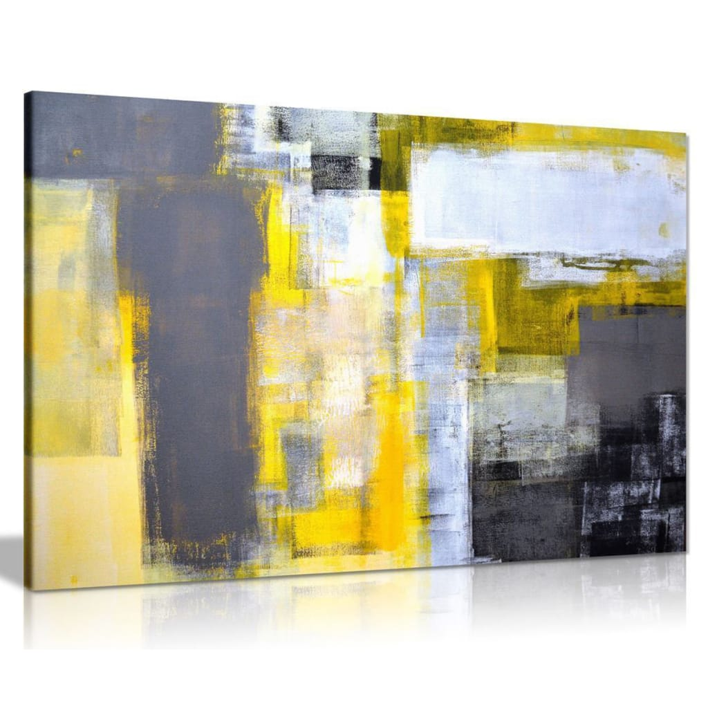 Abstract Grey Yellow Paintings Art Canvas Print Wall