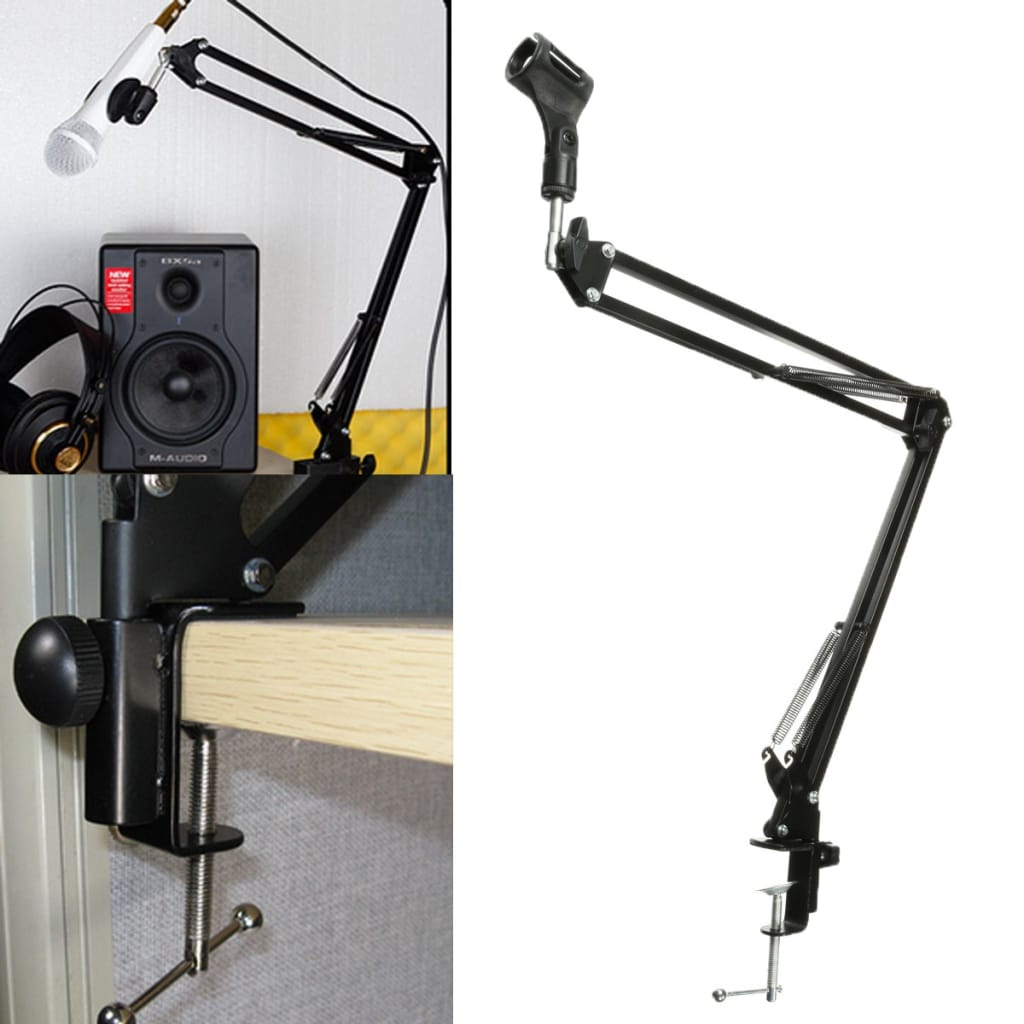 Adjustable Microphone Mic Suspension Boom Scissor Arm Stand