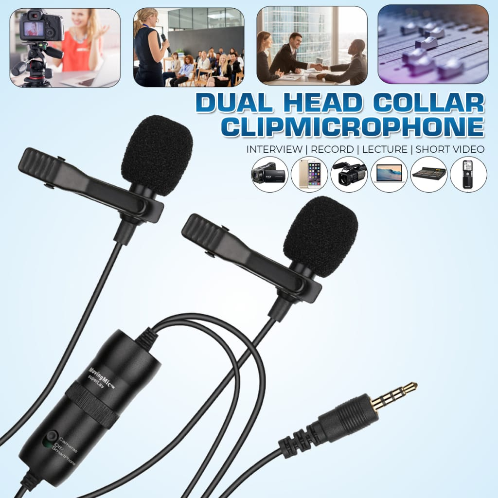 Dual Head Collar Clip Micrphone Interview Record Lecture