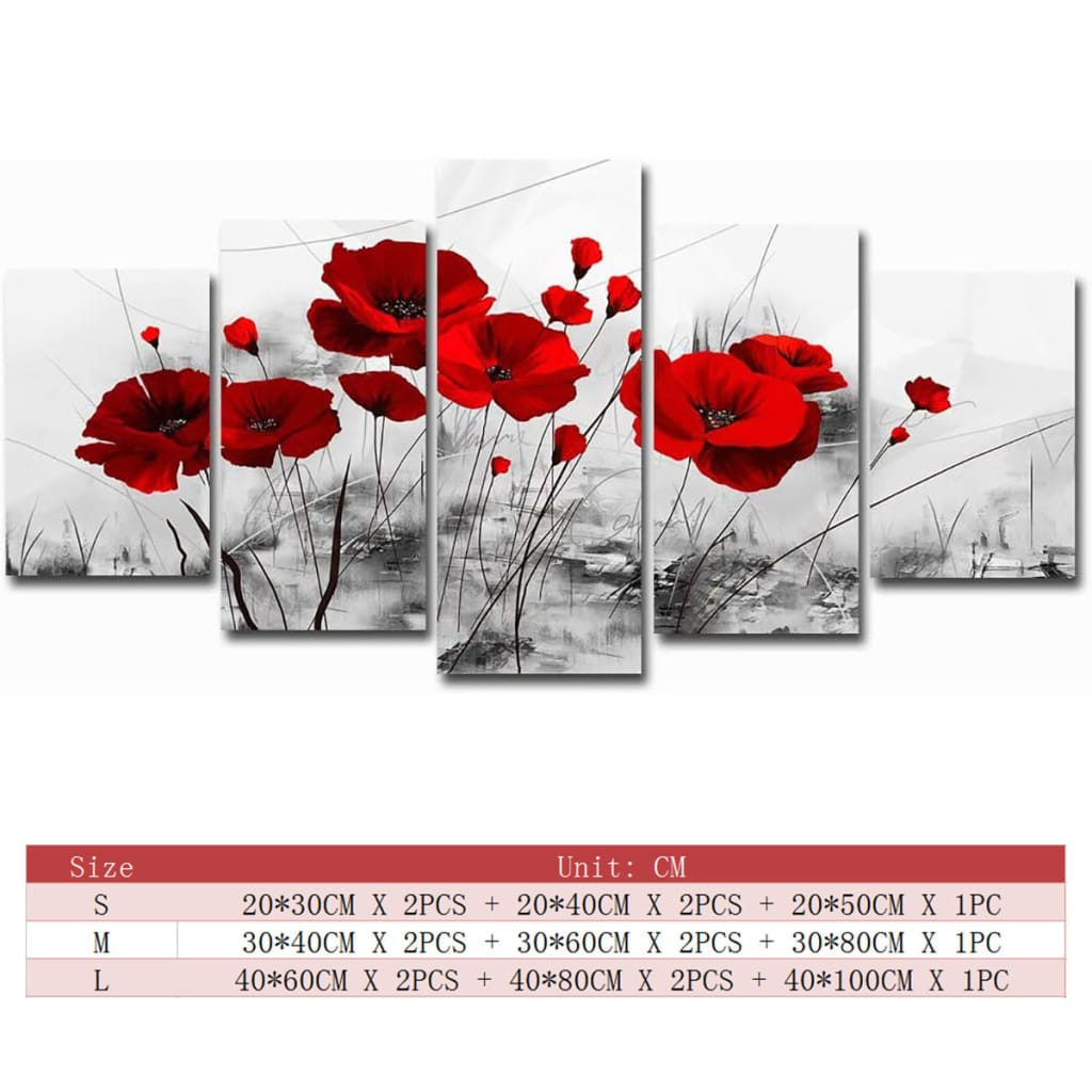 5pcs Modern Canvas Painting Red Blue Purple Ink Poppy Flower