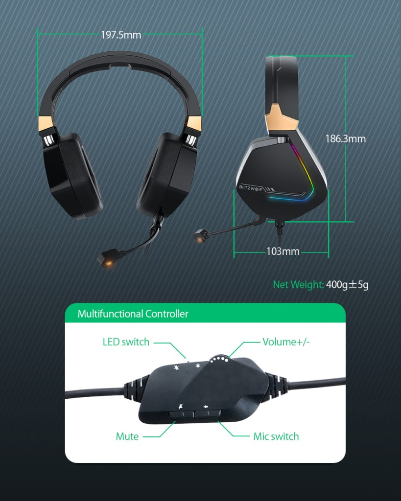 Gaming Headphone 7.1 Channel Usb Wired Rgb Gamer Headset