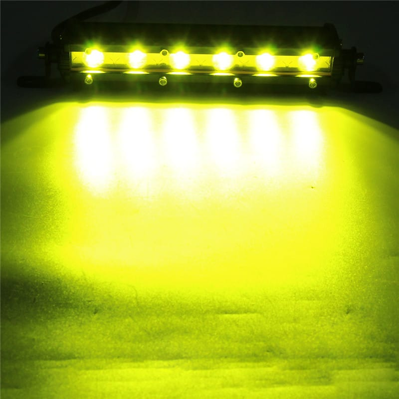 7 Inch 18w Led Work Light Bar Spot Beam Driving Lamp Yellow