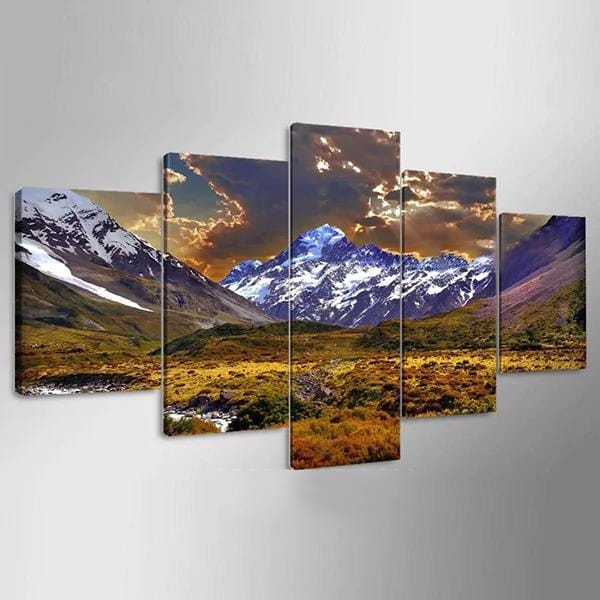 5 Cascade Lateau and Dusk Canvas Wall Painting Picture Home