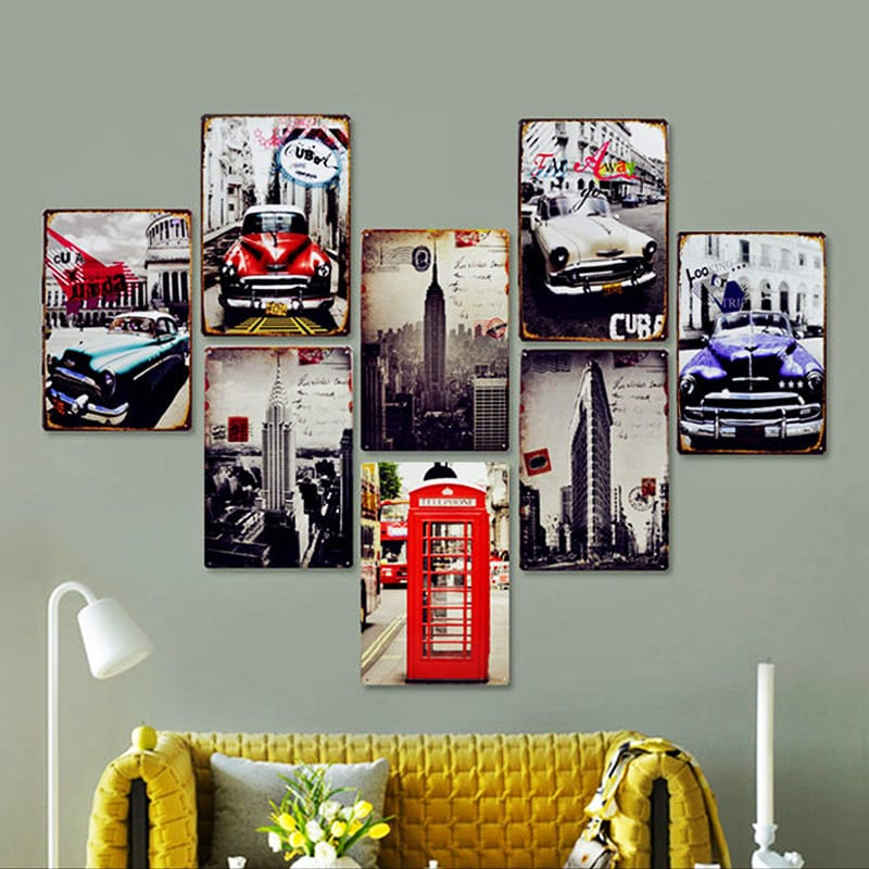 1pc Vintage Cool Wall Decor Metal Painting - 16 Options