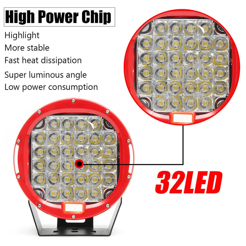 32led 9 Inch Red Round Work Lamp Light Flood Cover for Car