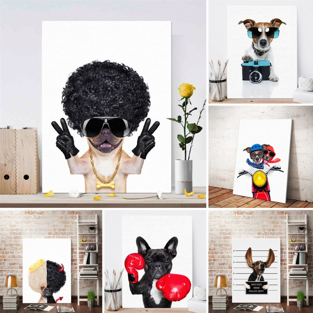 Cute Dog Art Wall Sticker Print Poster Modern Painting