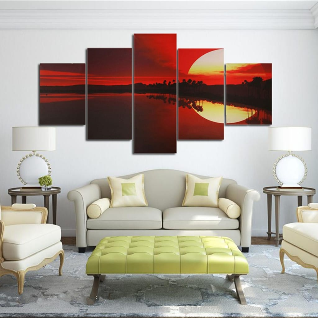 5pcs Frameless Canvas Painting Red Dusk Lakeside Picture