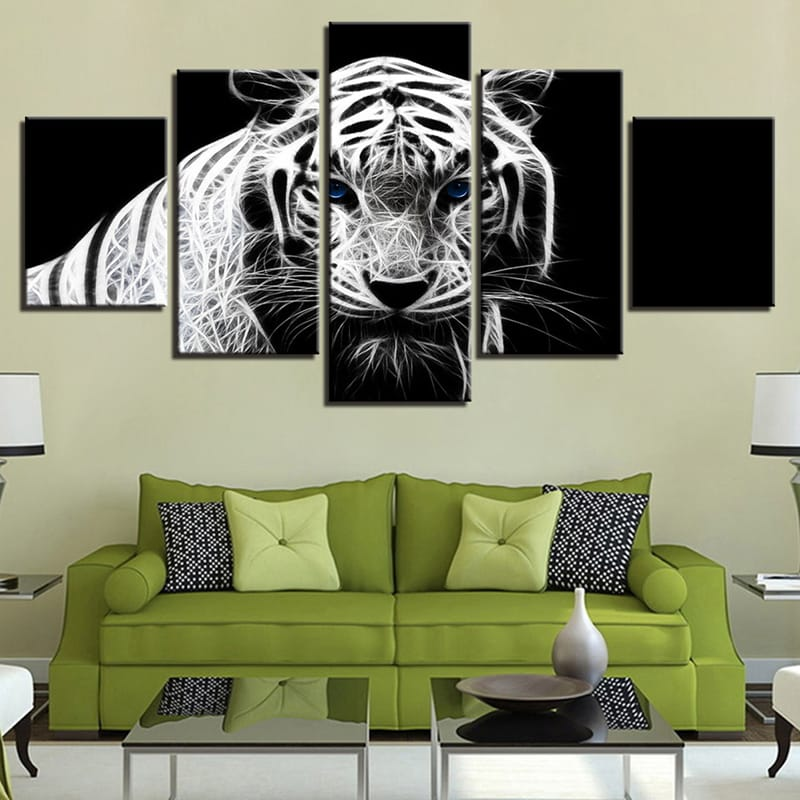 5pcs Modern Home Bedroom Wall Hd White Tiger Art Picture