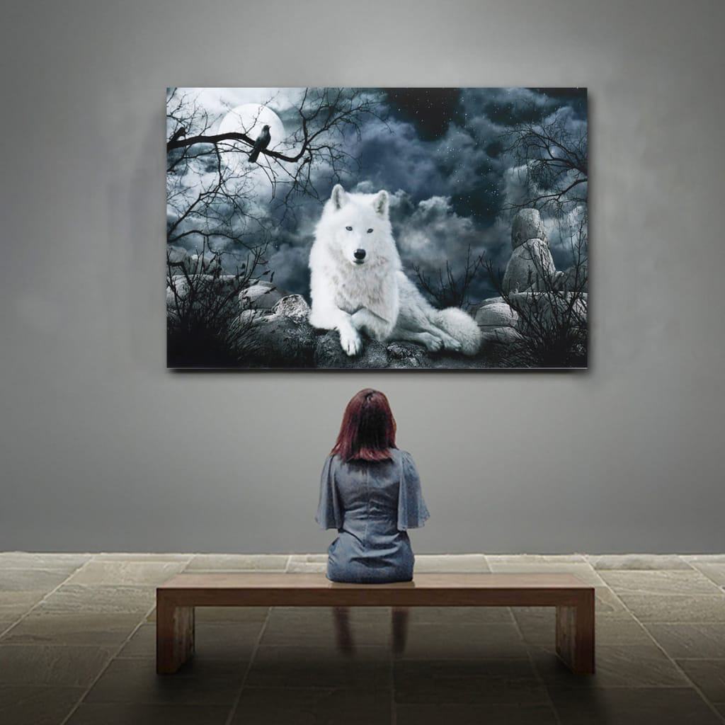 White Wolf Stone Canvas Wall Paintings Frameless Pictures