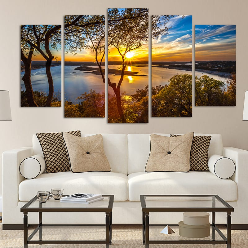 5 Panel Canvas Sunset Lake Tree Seascape Landscape Poster