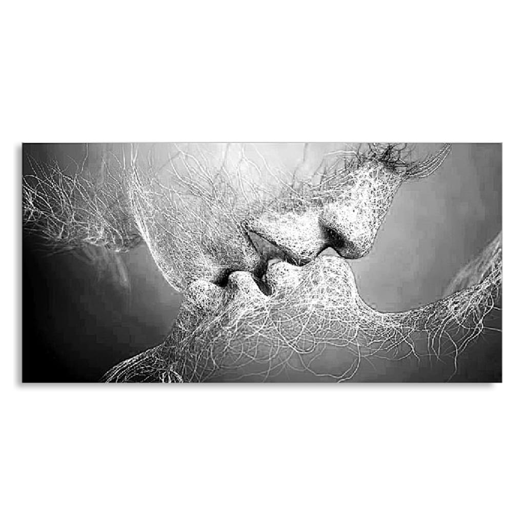 Black & White Love Kiss Wall Art Picture Print Abstract Arts