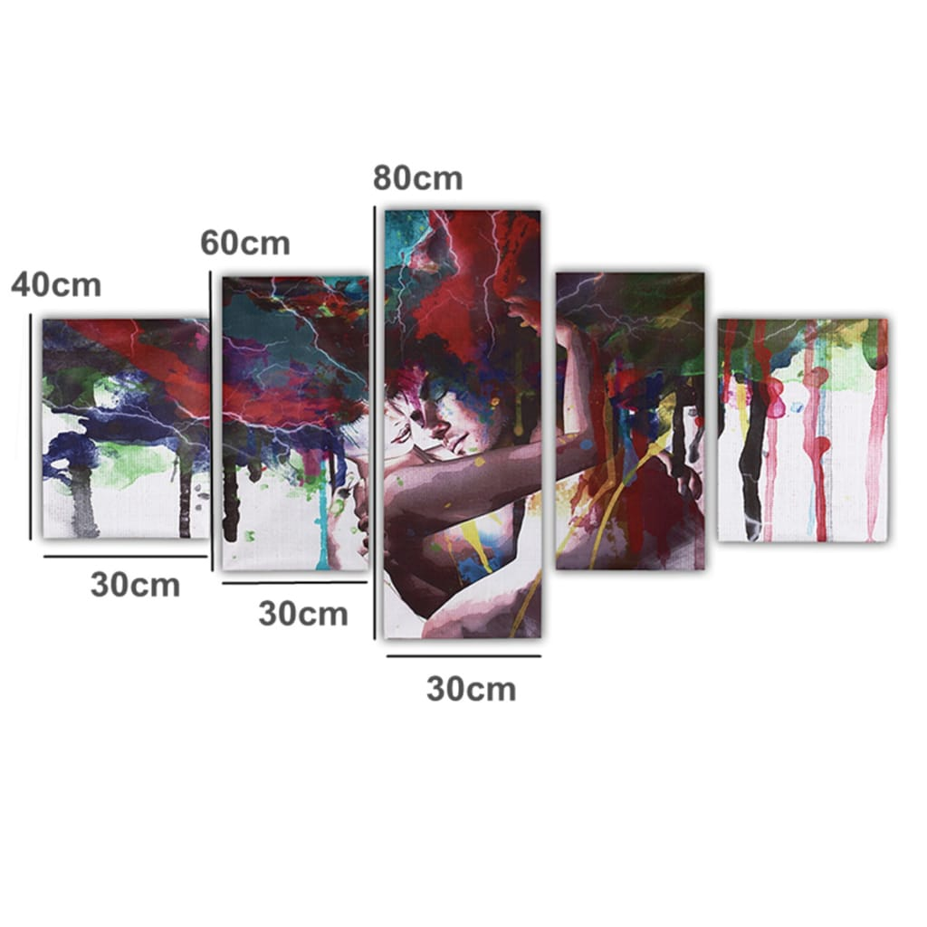 5pcs Abstract Couple Canvas Print Paintings Pictures