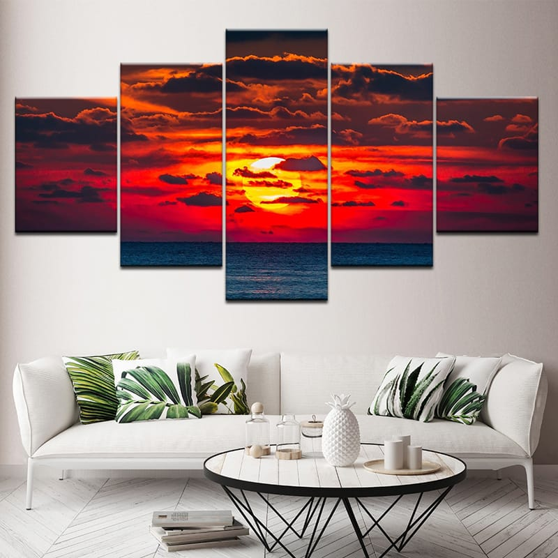 5pcs Wall Paintings Home Bedroom Decor Hd Art Sunset Spray
