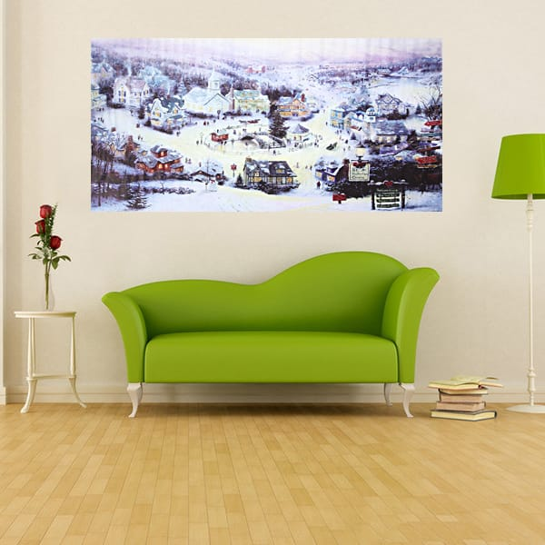 Christmas Small Town Canvas Frameless Canvas Painting