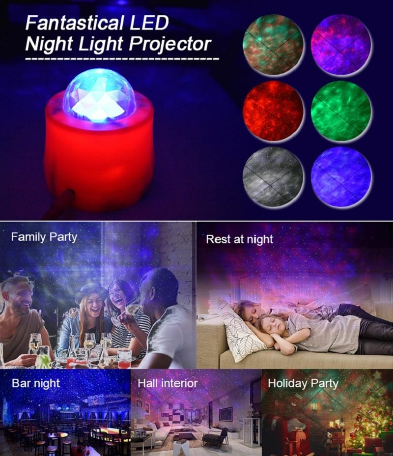 Led Starry Sky Projection Water Pattern Led Night Light
