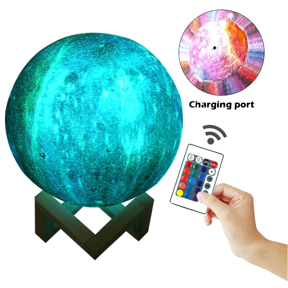 3d Printing 16 Colors Rechargeable Moon Lamp with Remote