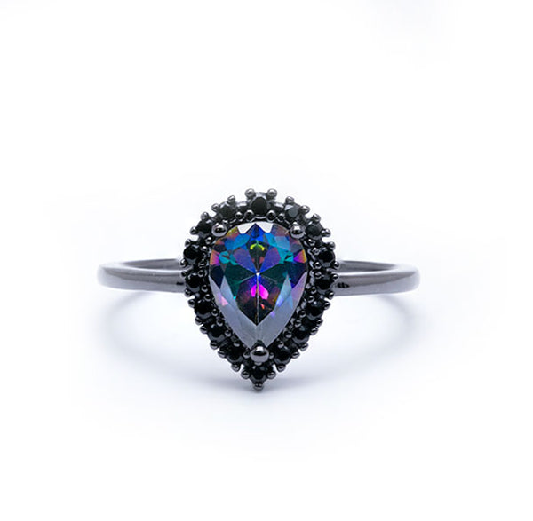 .925 Black Iridescent Halo Pear