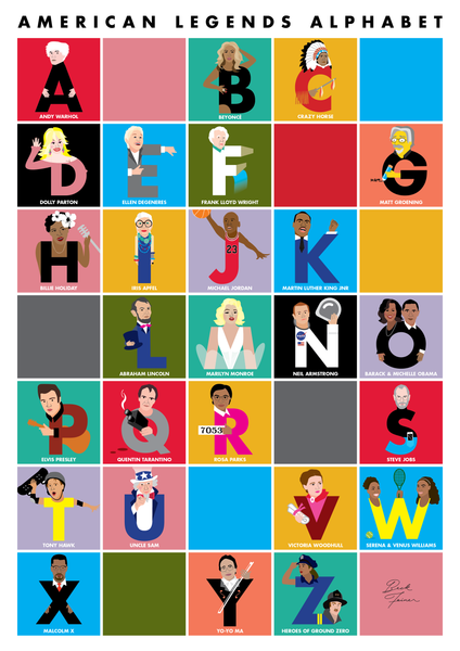 AMERICAN LEGENDS ALPHABET POSTER