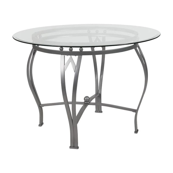42RD Glass Table/Gold Frame - Clear Top/Silver Frame - Dinette Tables
