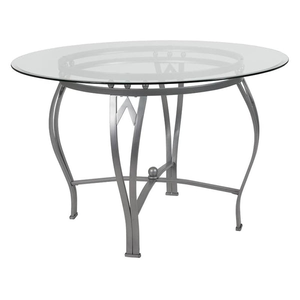 45RD Glass Table/Gold Frame - Clear Top/Silver Frame - Dinette Tables
