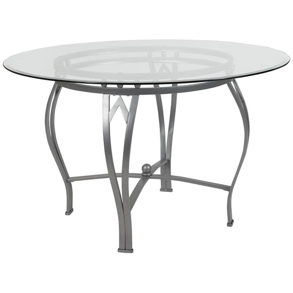 48RD Glass Table/Gold Frame - Clear Top/Silver Frame - Dinette Tables