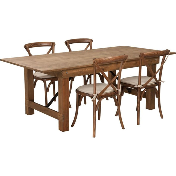 7x40 Farm Table/4 Chair Set - Antique Rustic - Dinette Sets