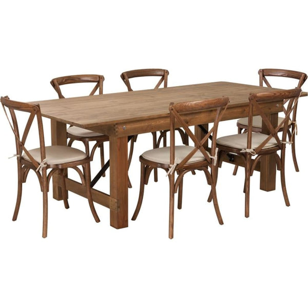 7x40 Farm Table/6 Chair Set - Antique Rustic - Dinette Sets