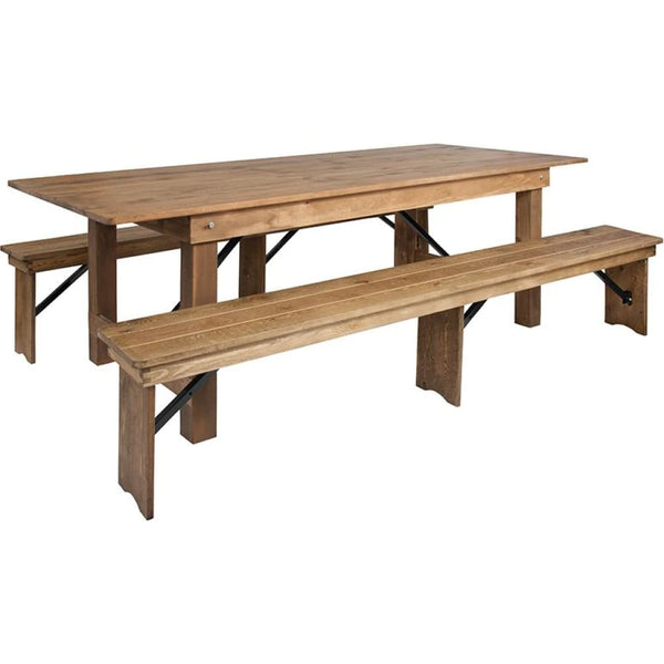8x40 Farm Table/2 Bench Set - Antique Rustic - Dinette Sets