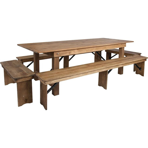 8x40 Farm Table/4 Bench Set - Antique Rustic - Dinette Sets