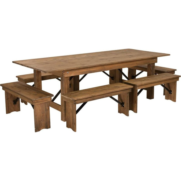 8x40 Farm Table/6 Bench Set - Antique Rustic - Dinette Sets