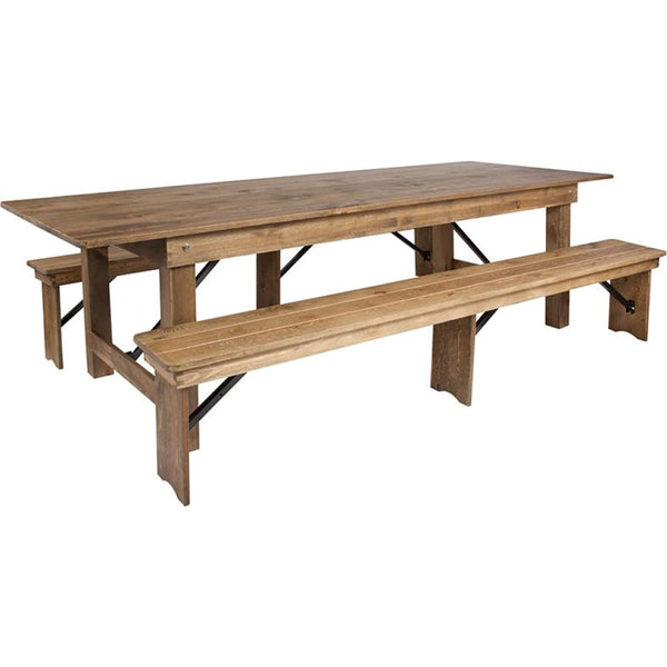 9x40 Farm Table/2 Bench Set - Antique Rustic - Dinette Sets
