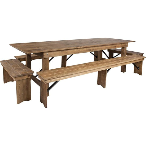 9x40 Farm Table/4 Bench Set - Antique Rustic - Dinette Sets