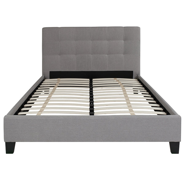 Twin Platform Bed-Light Gray