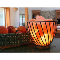 Accentuations 7-inch Natural Rocks Dimmer Himalayan Wired Basket Lamp - Desk Lamps