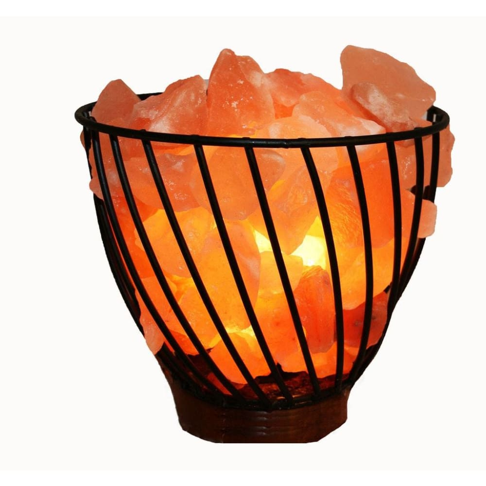 Accentuations 7-inch Natural Rocks Dimmer Himalayan Wired Basket Lamp