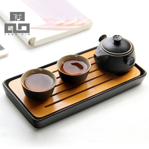 Bamboo Tray Accessories Ceramic Tea Table - Bamboo Tables & Trays