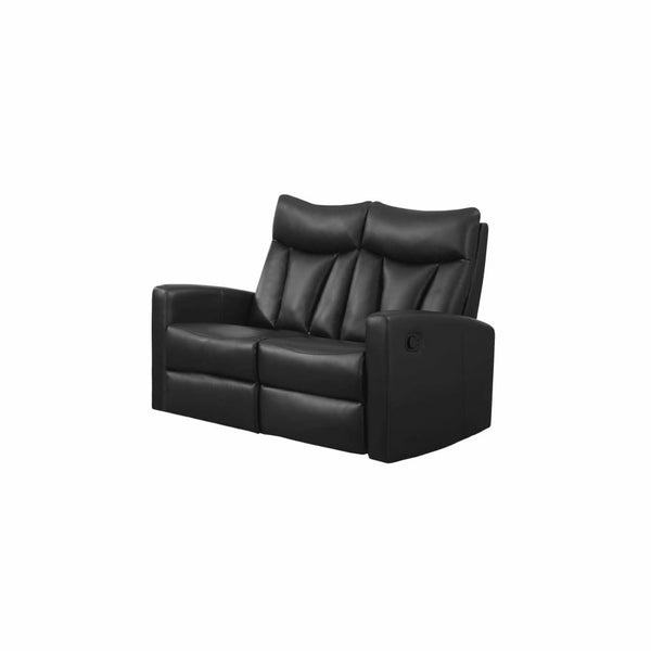 Black Bonded Leather Reclining Loveseat - Chairs Loveseats Futons Sofas Sectionals