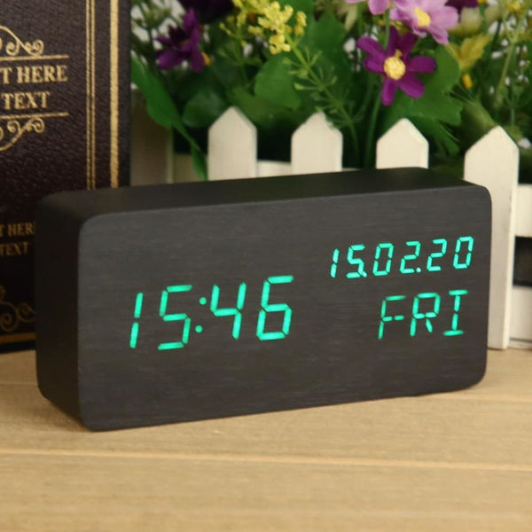 Black Green Calendar Wooden Chic Digital Clock - Alarm Clocks