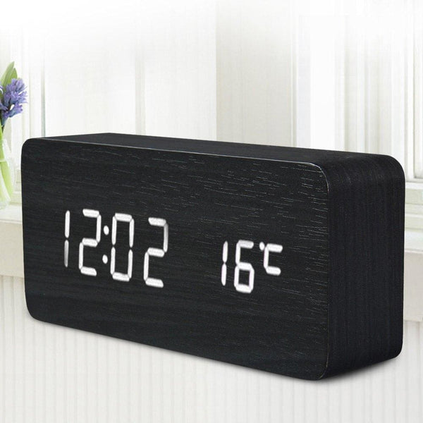 Black Wooden LED Desktop Alarm Clock with Old Style Temperature Sounds & Calendar - Alarm Clocks