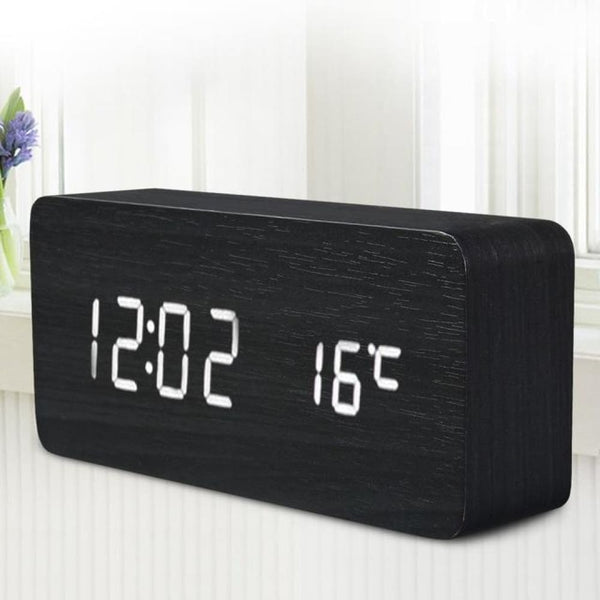 Black Wooden LED Desktop Alarm Clock with Old Style Temperature Sounds & Calendar - White - Alarm Clocks