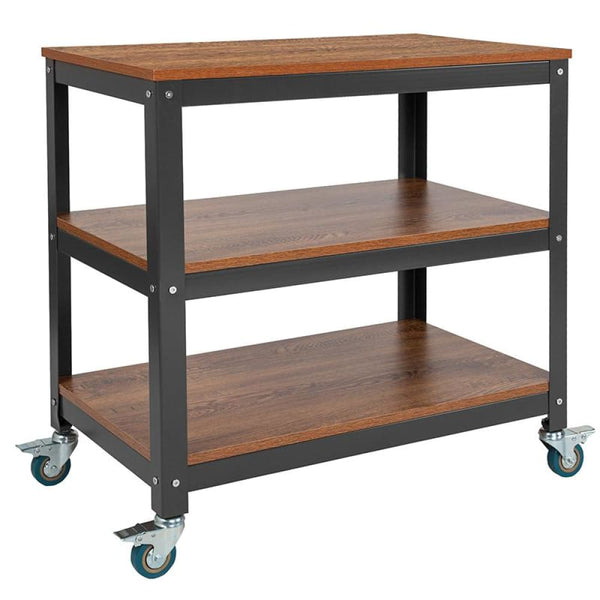 Brown Mobile Bookcase/Cart - Brown Oak - Shelves