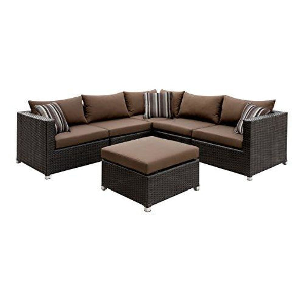 Bruno Contemporary Style Outdoor Patio Sectional with Ottoman - Brown - Outdoor Patio Furniture