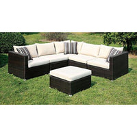 Bruno Contemporary Style Outdoor Patio Sectional with Ottoman - Outdoor Patio Furniture