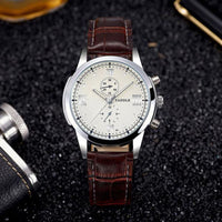 Business Luxury Famous Clock Quartz Watch - brown white - Watches