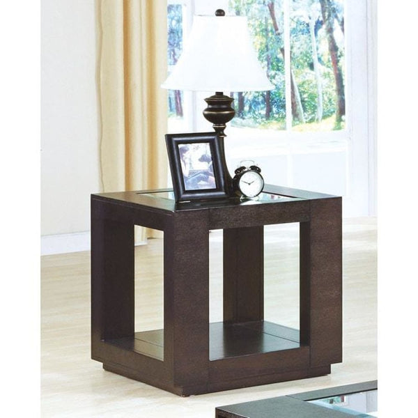 Cappuccino Veneer End Table with Glass Insert - Coffee Console Sofa & End Tables