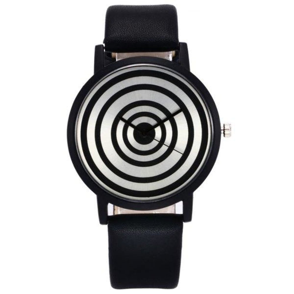 Circular Striped Black & White Faux Leather Strap Target Face Watch - Watches