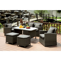 Darcy Contemporary Style Outdoor Patio Ottoman (Set of 2) - Outdoor Patio Furniture